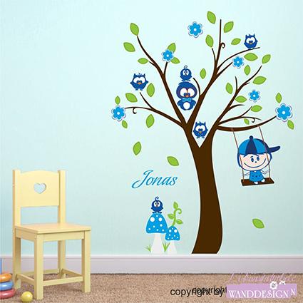 Wandtattoo eulenbaum und paul baum eulen schaukel kind - Wandtattoo eulenbaum ...