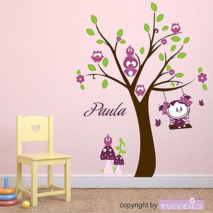 Wandtattoo eulenbaum und paula sonne baum schaukel eulen - Wandtattoo eulenbaum ...