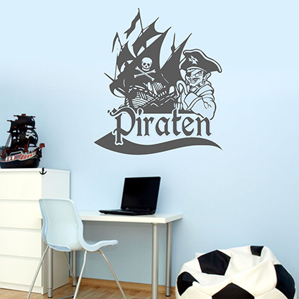 wandtattoo piratenschiff pirat schiff flagge. Black Bedroom Furniture Sets. Home Design Ideas