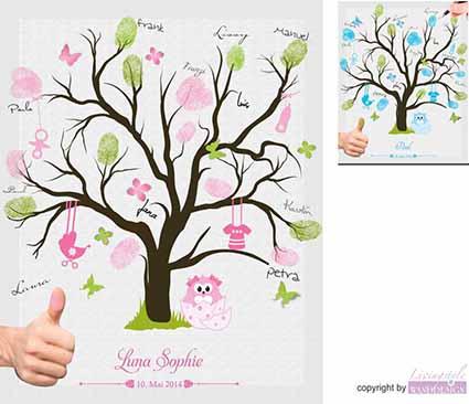 Details Zu Fingerabdruck Leinwand Taufe Geburt Fingerabdruckbaum Inkl Stempelkissen