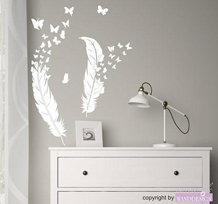 wandtattoo feder federn schmetterlinge wandsticker. Black Bedroom Furniture Sets. Home Design Ideas