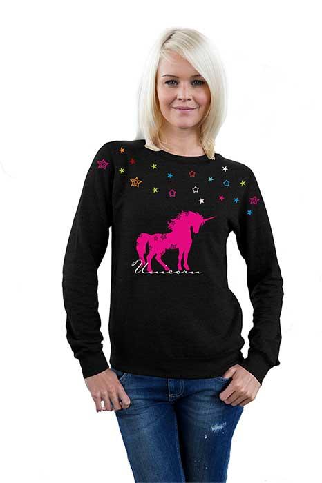 sweatshirt damen pullover unicorn sterne einhorn stars unicorn bunt ebay. Black Bedroom Furniture Sets. Home Design Ideas