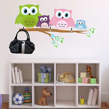 wandtattoo eulen garderobe ast baum eule kinderzimmer wanddeko ebay. Black Bedroom Furniture Sets. Home Design Ideas