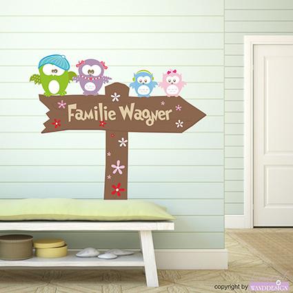 wandtattoo eulenfamily garderobe eulen schild familie. Black Bedroom Furniture Sets. Home Design Ideas