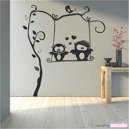 wandtattoo eulenschaukel fritz und lotte eulen paar. Black Bedroom Furniture Sets. Home Design Ideas