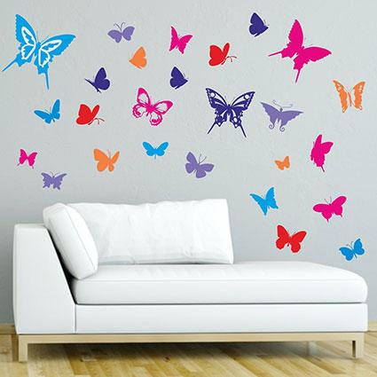 wandtattoo bunte faltermischung 30 schmetterlinge wandaufkleber sticker ebay. Black Bedroom Furniture Sets. Home Design Ideas