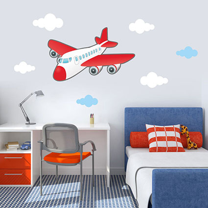 wandtattoo flugzeug wolken himmel flieger kinderzimmer wandaufkleber ebay. Black Bedroom Furniture Sets. Home Design Ideas