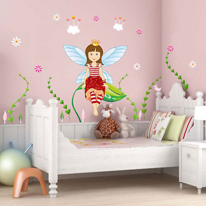 wandtattoo gro es elfenzimmer elfe fee blumen bl ten ranken wolken wandaufkleber ebay. Black Bedroom Furniture Sets. Home Design Ideas