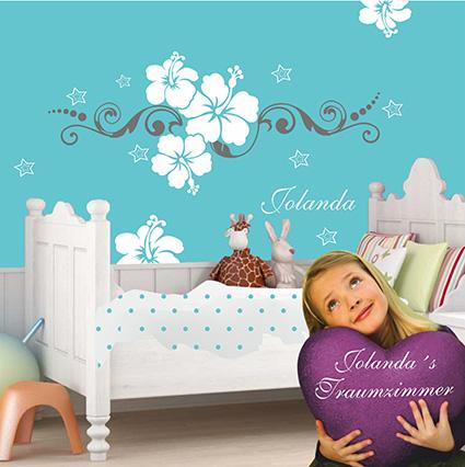 wandtattoo kinderzimmer mit namen hibiskus sternchen. Black Bedroom Furniture Sets. Home Design Ideas