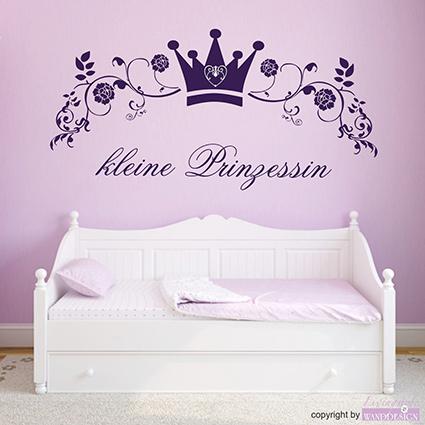 Wandtattoo kleine prinzessin krone blumen ranke wandsticker wandaufkleber ebay - Prinzessin wandtattoo ...