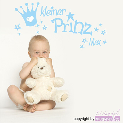 wandtattoo kleiner prinz junge boy baby wandaufkleber mit name ebay. Black Bedroom Furniture Sets. Home Design Ideas
