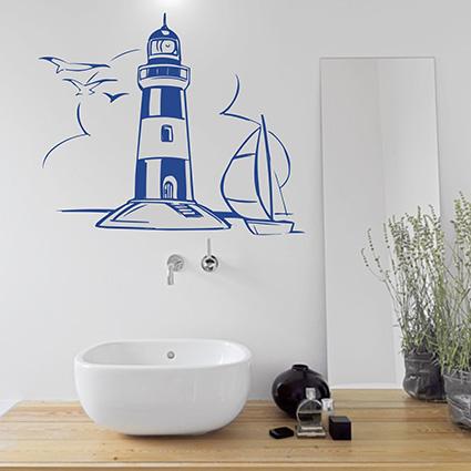 Details zu WANDTATTOO Leuchtturm Bad Turm Wandsticker Wandaufkleber Küste  Wasser Schiff