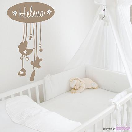 wandtattoo little baby name schnuller teddy kinderzimmer. Black Bedroom Furniture Sets. Home Design Ideas