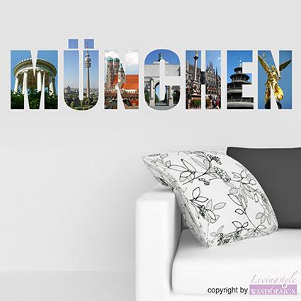 wandtattoo m nchen st dteaufkleber stadt city farbauswahl wandsticker ebay. Black Bedroom Furniture Sets. Home Design Ideas