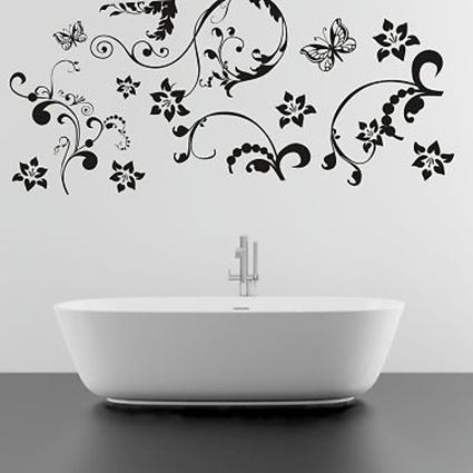 pf69 Wandtattoo  Ranke Blumen Blumenranke Wallbild walltattoo schmetterling