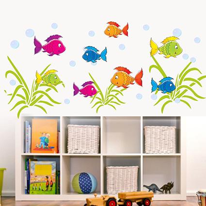 Wandtattoo unterwasserwelt fische meer pflanzen - Wandtattoo unterwasserwelt kinderzimmer ...